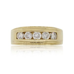 14k Yellow Gold 0.70ctw of Round Brilliant Diamond Gents Ring