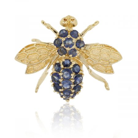 14k Yellow Gold Round Sapphire Bee Brooch Pin