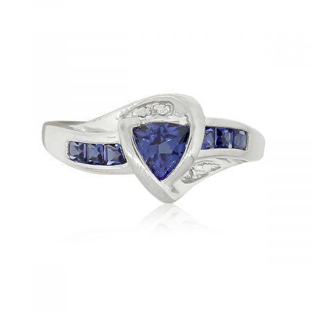 10k White Gold 0.03ctw Diamond & Synthetic Sapphire Ring