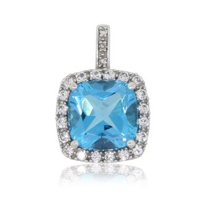 10k White Gold Blue Topaz With White Stones Pendant