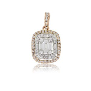 14k Rose and White Gold 0.49ctw Diamond Double Halo Mosaic Cluster Pendant