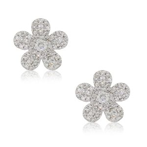 14k White Gold 0.35ctw Pave Diamond Cluster Flower Earrings