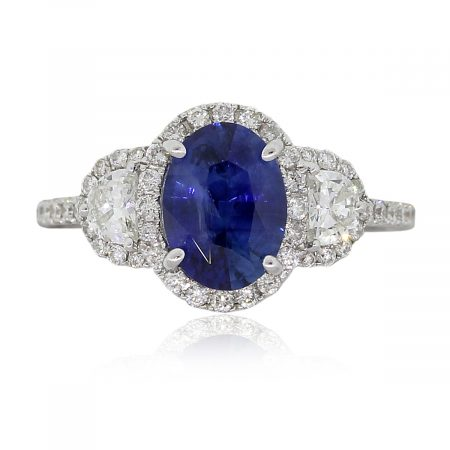 18k White Gold 1.95ct Oval Sapphire and 0.76ctw Diamond Ring