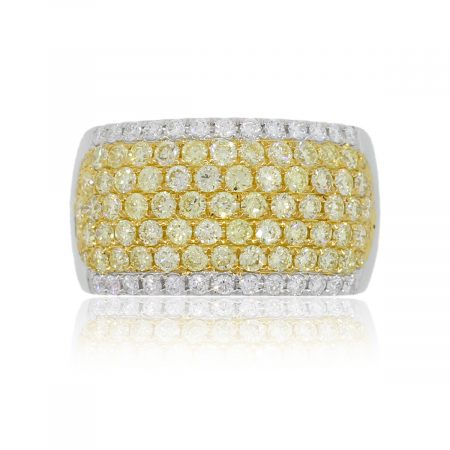 18k White Gold 1.98ctw White and Yellow Diamond Wide Ring