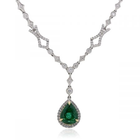 14k White Gold 2.70ct Pear Shape Emerald and 0.86ctw Diamond Pendant Necklace