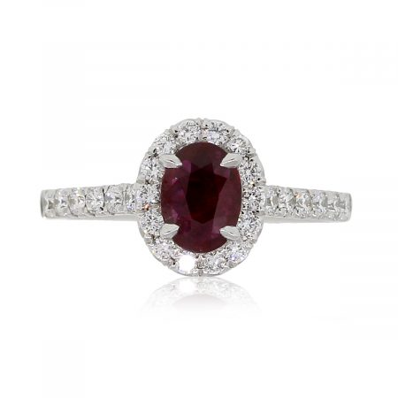 18k White Gold 0.69ct Oval Shape Ruby and 0.49ctw Diamond Ring