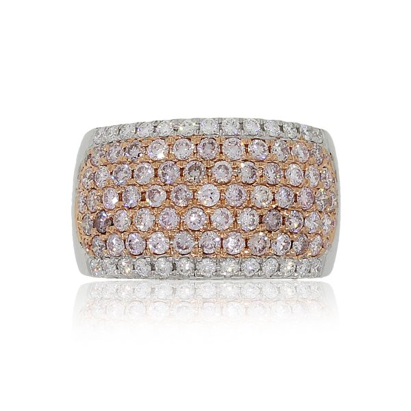 18k White Gold 2.03ctw Pink and White Diamond Wide Band