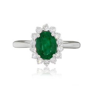 18k White Gold 1.30ct Oval Emerald and 0.34ctw Diamond Halo Ring