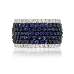 14k White Gold 3.80ctw Sapphire and 1.37ctw Diamond Wide Eternity Band