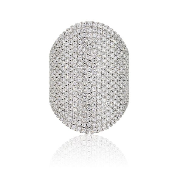 14k White Gold 2.79ctw Diamond Pave Wide Ring