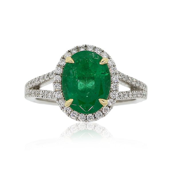 18k White Gold GIA Certified 2.47ct Oval Emerald and 0.48ctw Diamond Ring