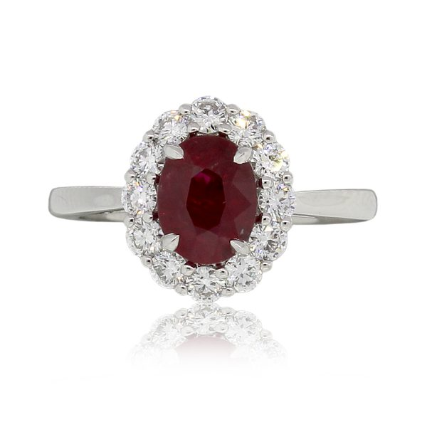 Platinum GIA Certified 1.82ct Oval Shape Ruby and 0.75ctw Diamond Ring