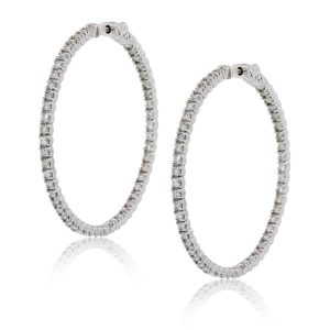 14k White Gold 5ctw Diamond Inside Out Extra Large Hoop Earrings