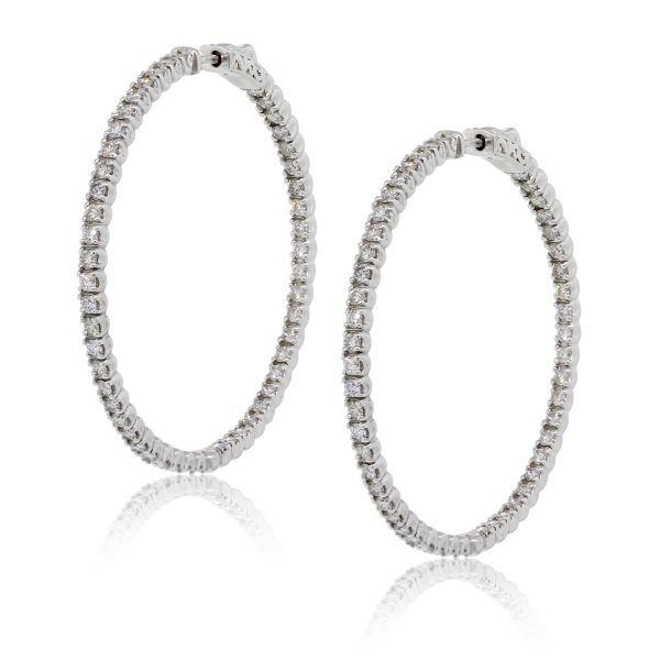 5bc2a4c74a9 14k White Gold 5ctw Diamond Inside Out Extra Large Hoop Earrings