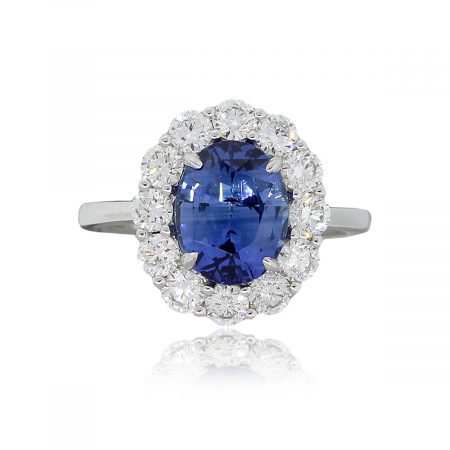 18k White Gold GIA Certified 3.48ct Oval Sapphire and 1.37ctw Diamond Halo Ring