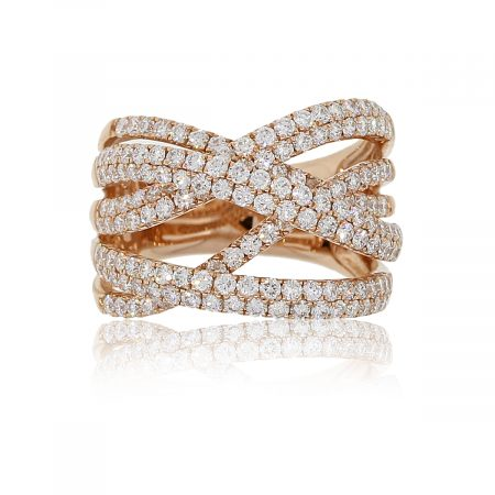 14k Rose Gold 1.98ctw Diamond Crossover Wide Ring