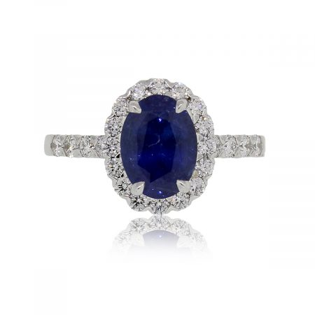 18k White Gold 2.48ct Oval Sapphire and 0.69ctw Diamond Ring