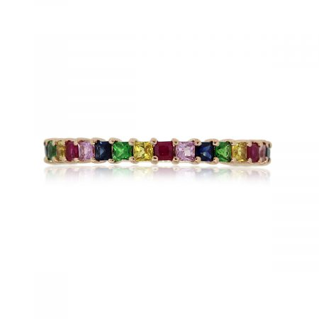 14k Rose Gold 0.92ctw Multicolor Gemstone Narrow Stackable Band
