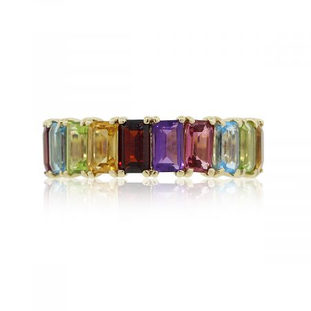 14k Yellow Gold 4.48ctw Multi Color Emerald Cut Gemstone Band
