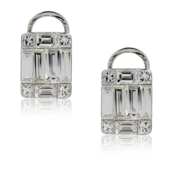 18k White Gold 1.46ct Baguette Cut Diamond Mosaic Earrings