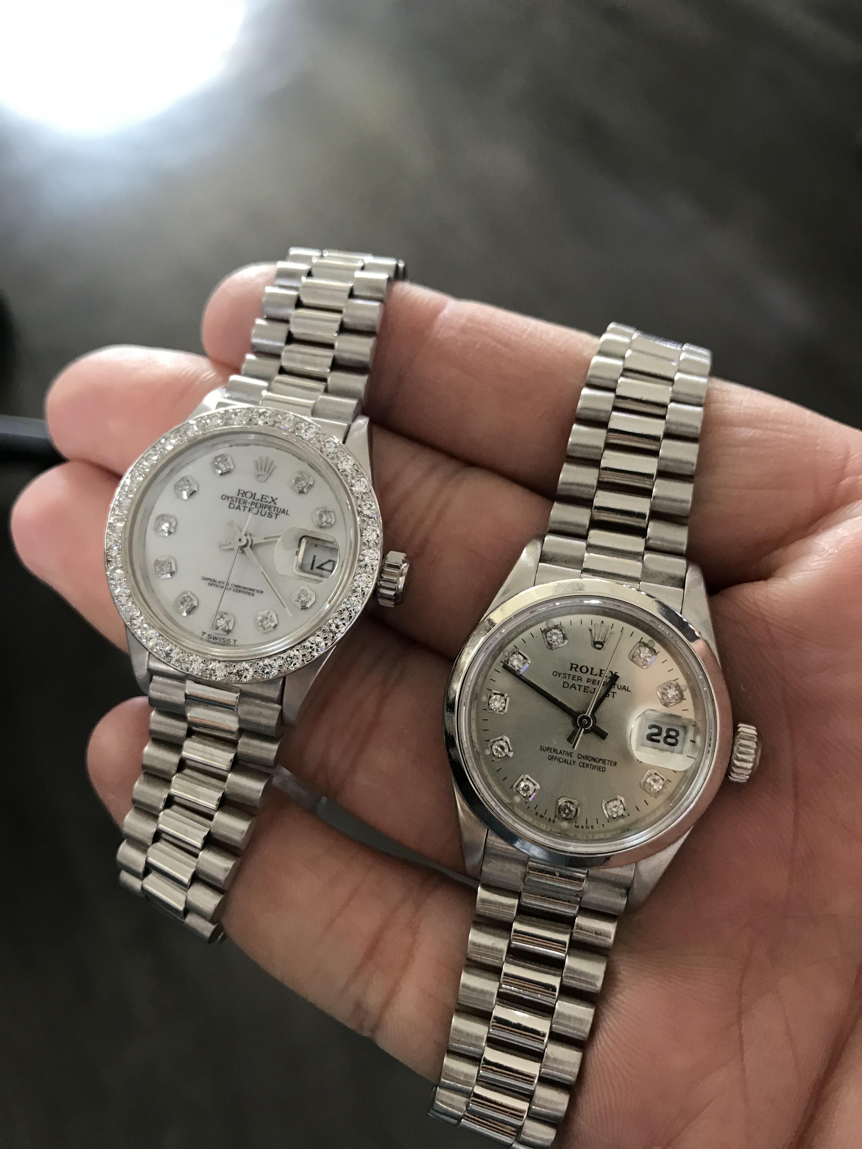 Ladies white gold presidential and platinum presidential
