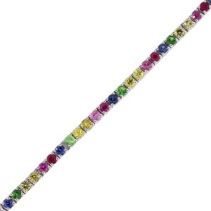 14k White Gold 0.05ct Round Diamond Multi Colored Gemstone Bracelet