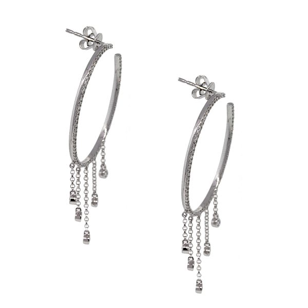 14k White Gold 0.56ctw Round Diamond Pave Oval Hoops