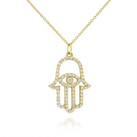 KC Designs 14k Yellow Gold 0.36ctw Diamond Hamsa Pendant Chain Necklace