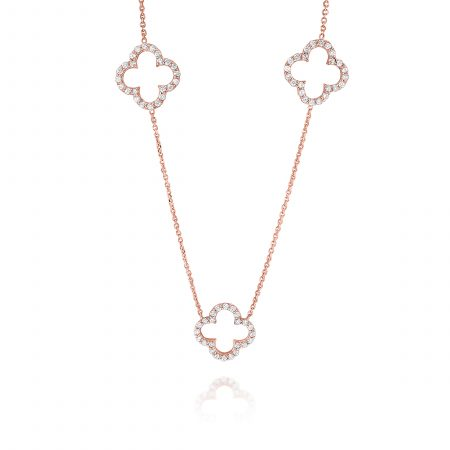 KC Designs 14k Rose Gold 0.64ctw Diamond Triple Open Clover Necklace