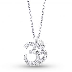 KC Designs 14k White Gold 0.25ctw Diamond Ohm Pendant Necklace