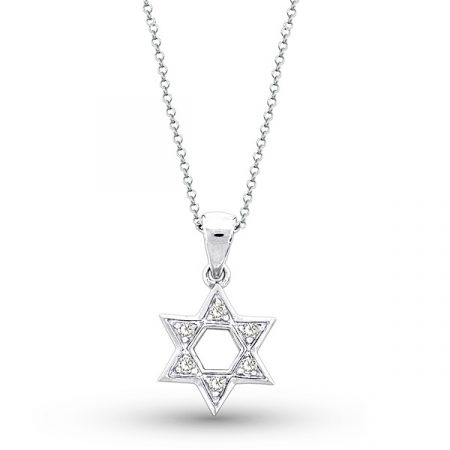 KC Designs 14k White Gold 0.10ctw Diamond Star of David Chain Necklace