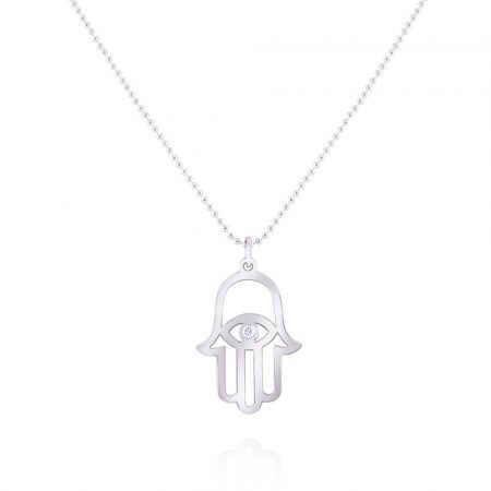 KC Designs 14k White Gold 0.03ct Diamond Hamsa Pendant Bead Chain Necklace