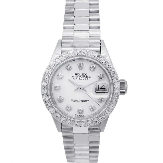 White Gold Mother Of Pearl Presidential Ladies Watch