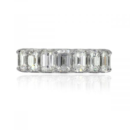 18k White Gold 5.32ctw Emerald Cut Diamond Wedding Band
