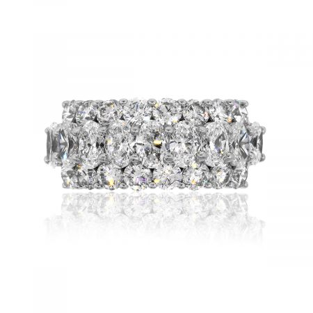 18k White Gold 4.34ctw Oval & Round Diamond Three Row Ring
