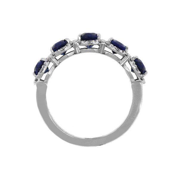 18k White Gold 3ct Oval Sapphire With Diamond Halo Band