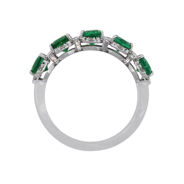 18k White Gold 2.01ct Oval Cut Emerald With Diamonds Ring