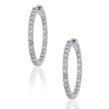14k White Gold 2.87ctw Round Diamond Inside Out Hoops