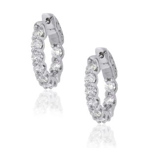 14k White Gold 1.77ctw Diamond Inside Out Hoops