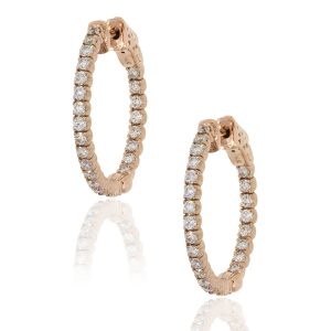 14k Rose Gold 1.19ctw Diamond Inside Out Hoops