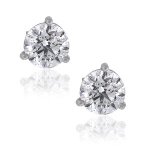 14k White Gold 3.06ctw Round Diamond EGL Stud Earrings