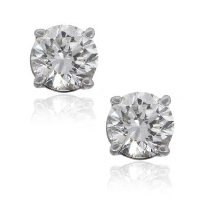 14k White Gold 1.18ctw Round Brilliant Diamond Stud Earrings