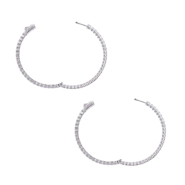 14k White Gold 4.59ctw Round Diamond Inside Out Hoops