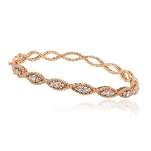 14k Rose Gold 0.95ctw Diamond Crossover Bangle