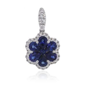18k White Gold 0.12ct Diamond With Sapphire Flower Pendant