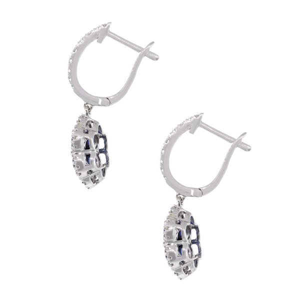18k White Gold 0.41ct Round Diamond With Sapphire Earrings