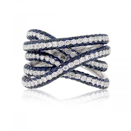 18k White Gold 0.83ctw Diamond and 2.06ctw Blue Sapphire Crossover Ring