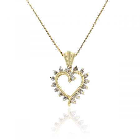 14k Yellow Gold 0.25ctw Diamond Boxed Heart Pendant on Chain