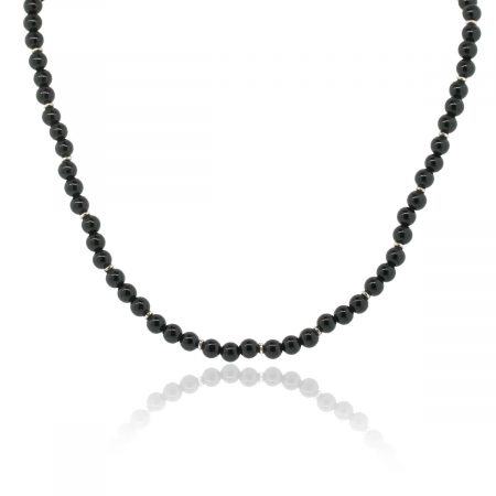 Gucci Sterling Silver Black Onyx Bead Toggle Necklace