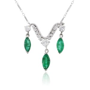 14k White Gold 2.75ctw Emerald and 0.85ctw Diamond Necklace